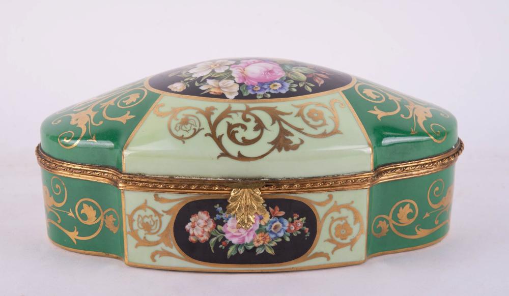 Large Porcelain Oval Floral Gold Gilt Box