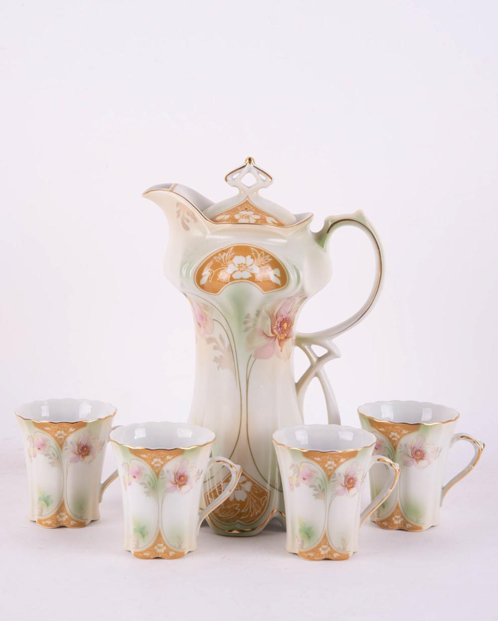 R S Prussia Porcelain Teapot And Cups