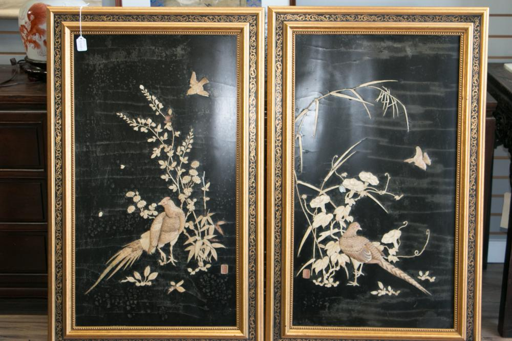 A Pair Of Japanese Carved Lacquer Set Bone Screens