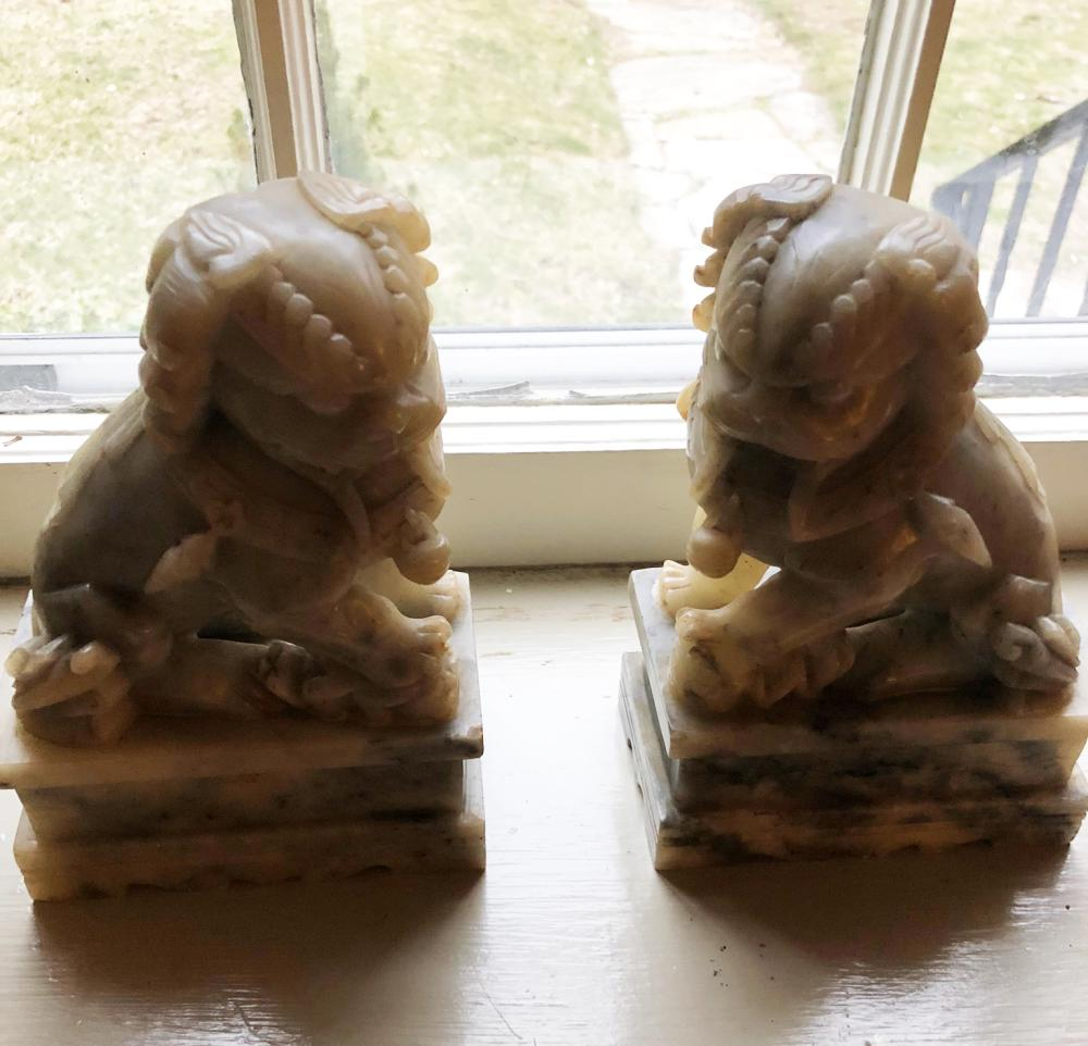 Pair of Carved Chinese Foo Dogs