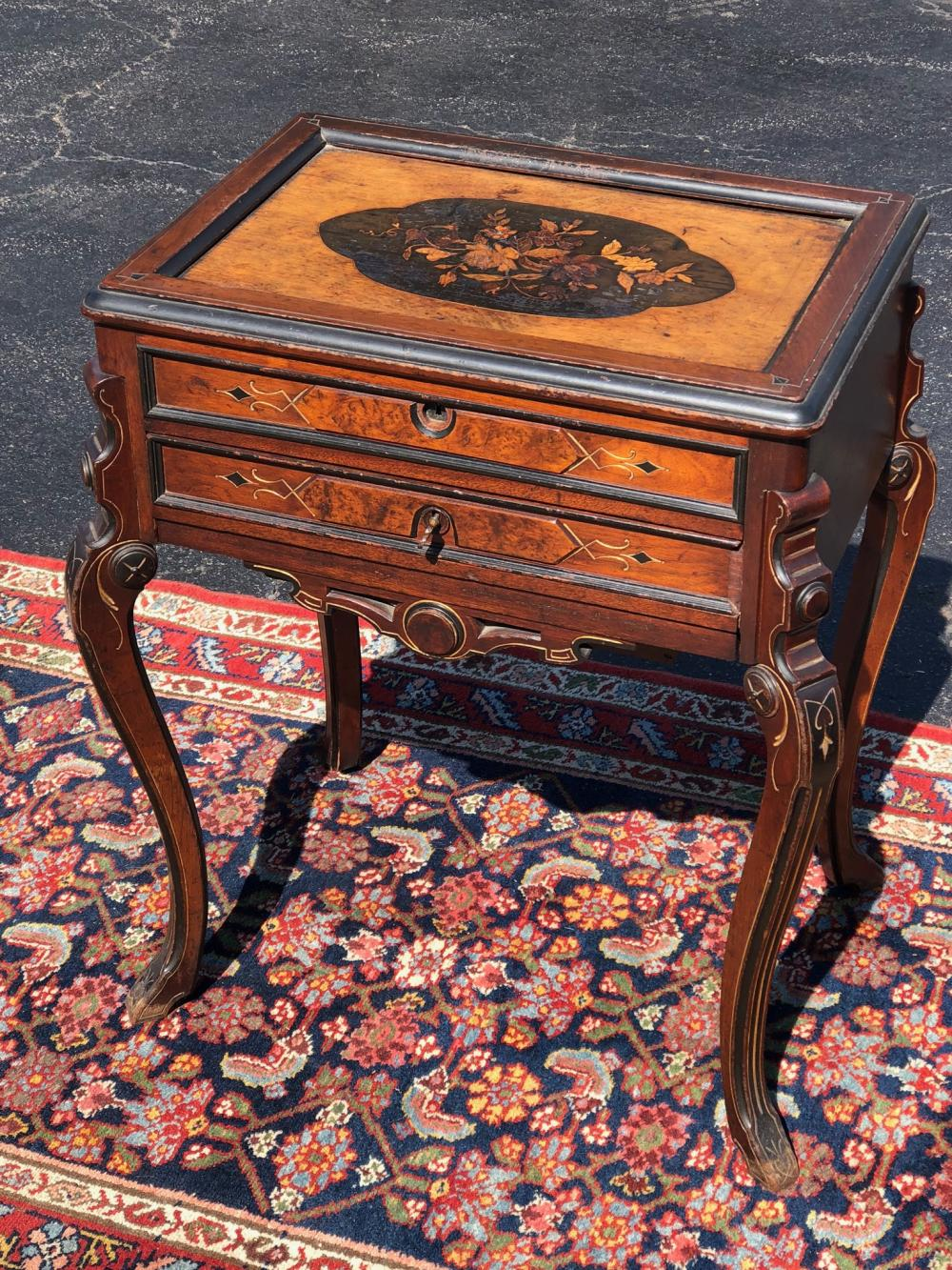 Renaissance Revival Marquetry Inlaid Sewing Stand