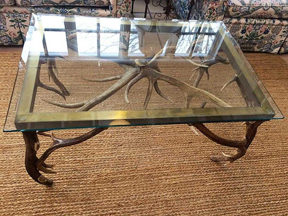 Glass Top Antler Table