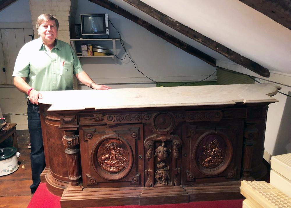 Victorian Marble Top Carved Credenza