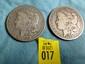 2 US 1899-O Morgan Silver Dollars