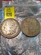 2 US Morgan Silver Dollars 1880 and 1882