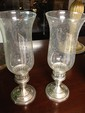 Pair of Sterling Siver Candle Holders with Hurricane Globes
