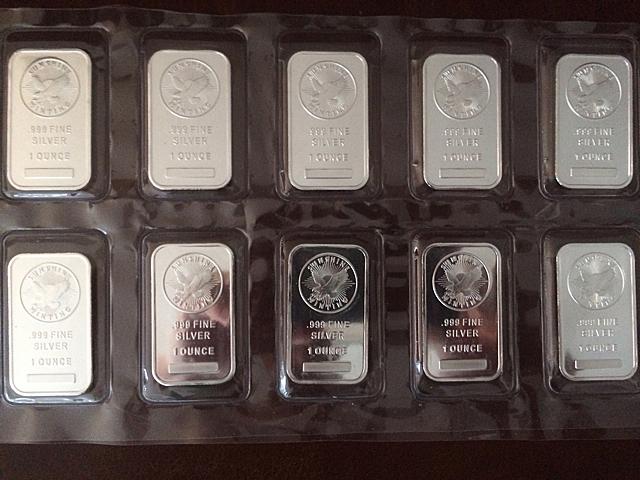 10 Silver 1 Oz Bars