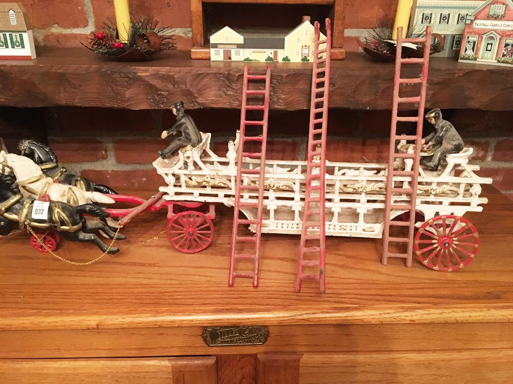 Cast Iron Horse and Ladder Truck