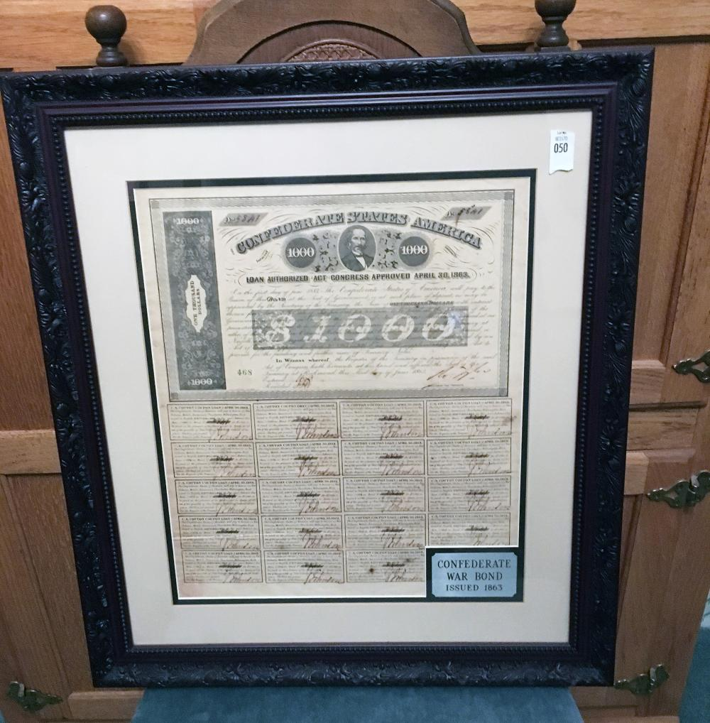 Confederate War Bond Issued 1863.
