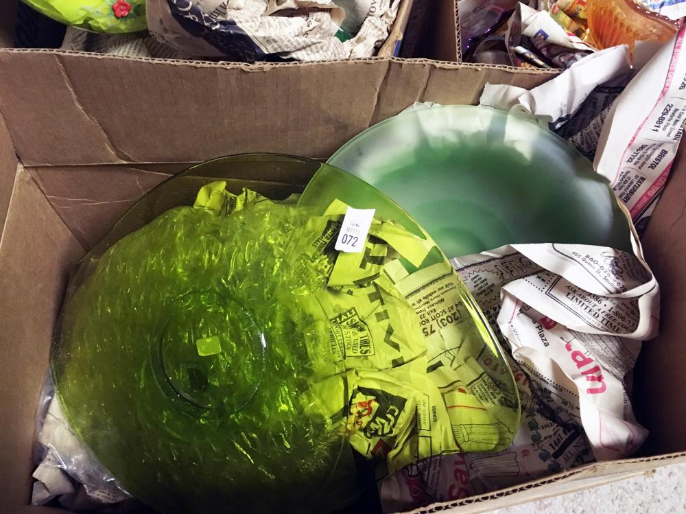 Green and Frosted Green Depression Glass Discovery Lot