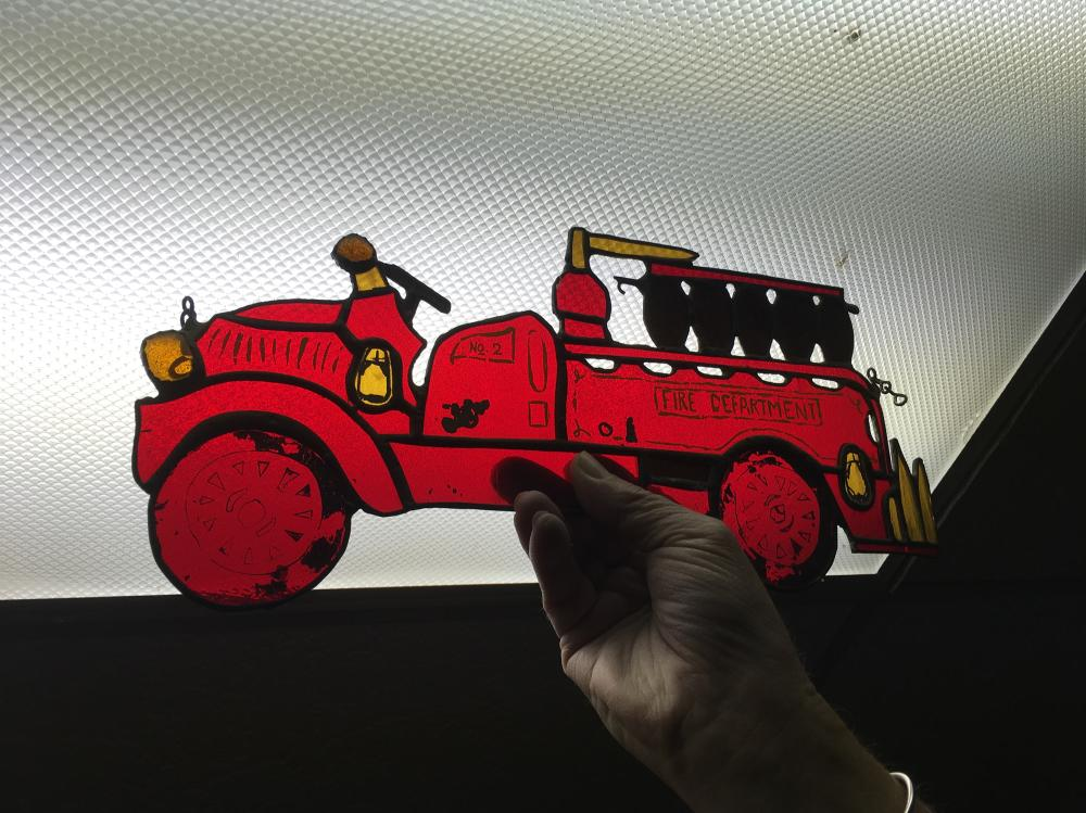 Stained Glass Fire Truck