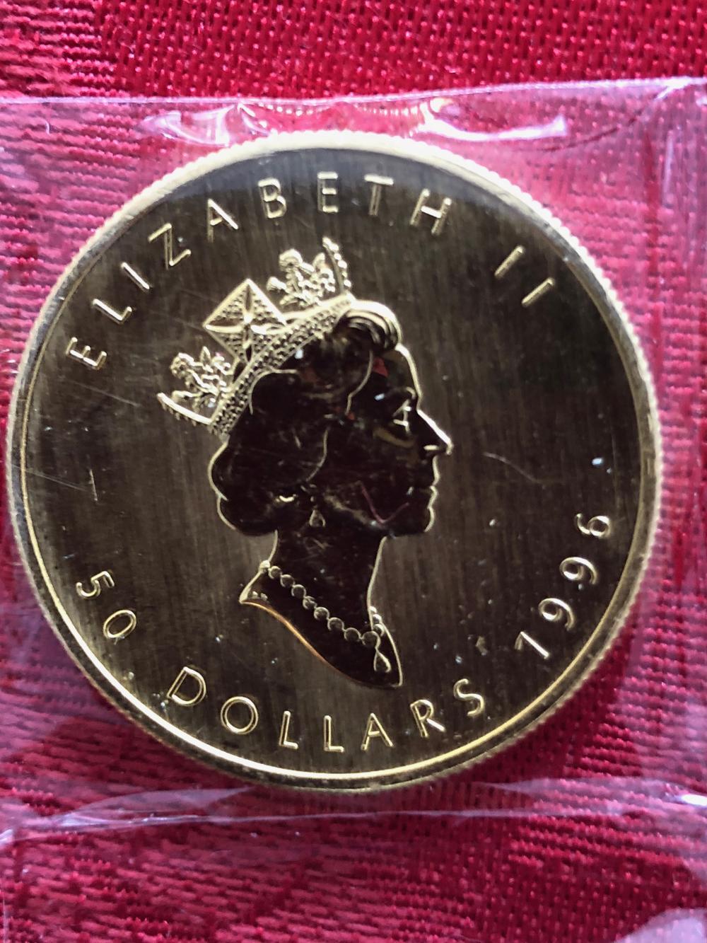 1996 1 Oz. Gold Maple Leaf Coin