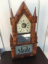 Birge & Fuller Double Steeple Mahogany Wagon Spring Shelf Clock