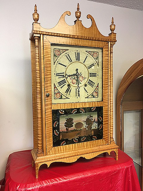 Tiger Maple Pillar and Scroll Clock
