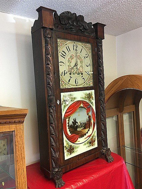 Rodney and Brace Carved Mahogany Shelf Clock