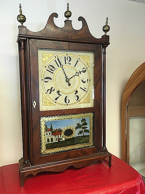 Bishop and Bradley Pillar and Scroll Clock