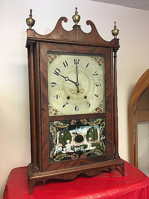 Hopkins & Alfred Mahogany Pillar & Scroll Clock