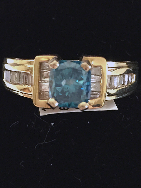 14kt Gold Ladies Blue Princess Cut Diamond Ring