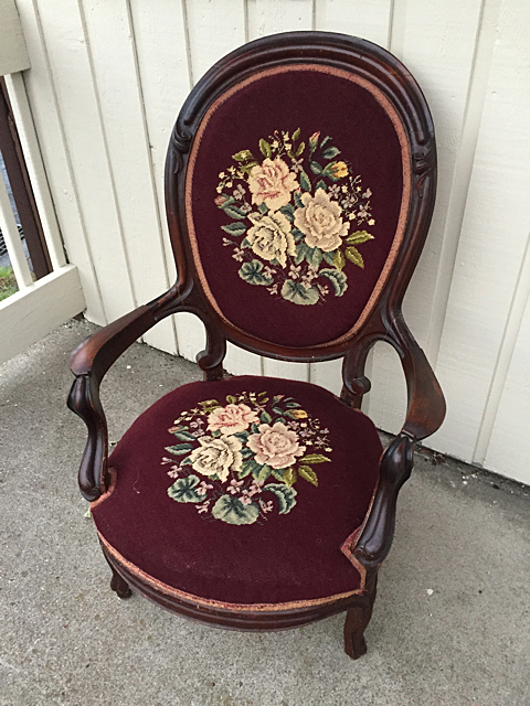 Needlepoint Victorian Gentlemen's Chair