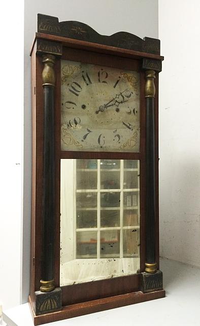 Burr & Chittenden Mahogany Looking Glass Shelf Clock