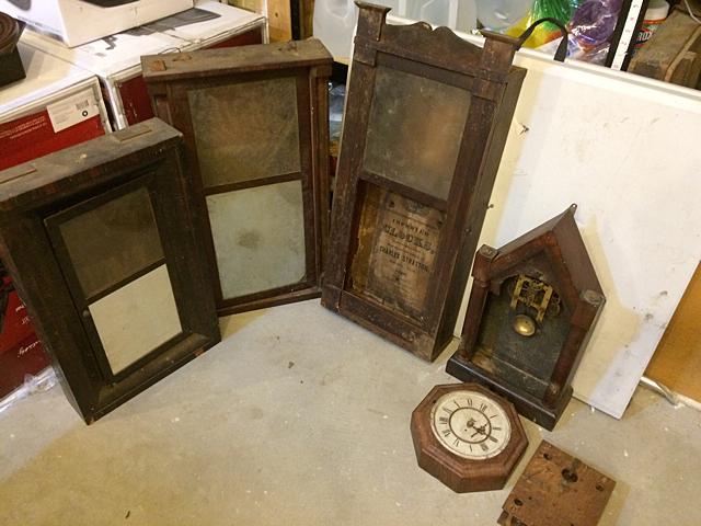 5 Clock Cases and Partial Wooden Works Movement