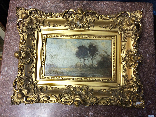 Vintage Painting in Ornate Gold Gilt Frame