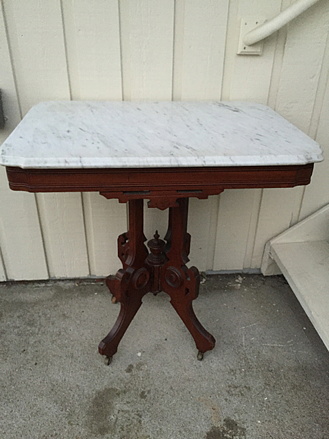 Walnut Eastlake Style Marble Top Table