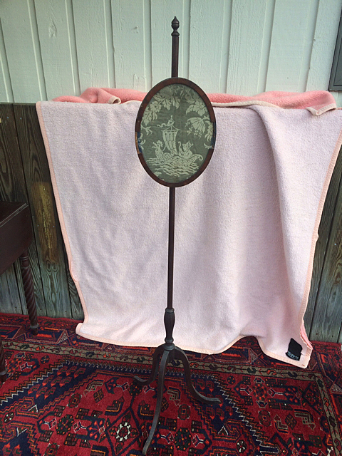 Early American Antique Pole Screen