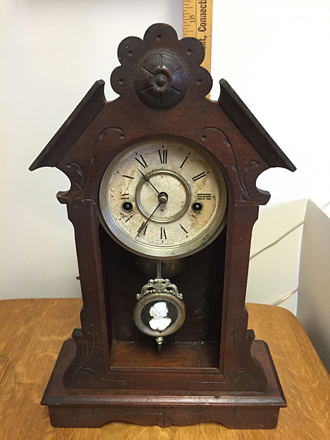 Waterbury Clock Co. Black Walnut Shelf Clock