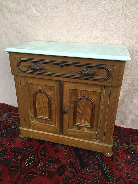 Chestnut and Walnut Marble top Commode