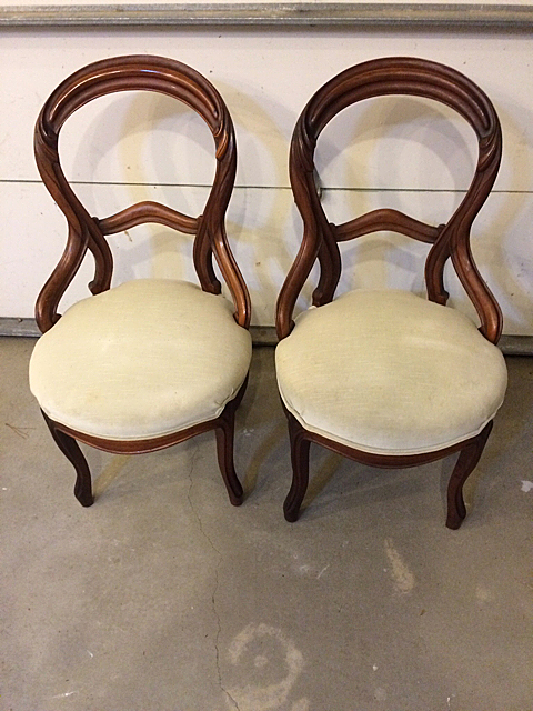 Pair of Victorian Walnut Ladies Side Chairs