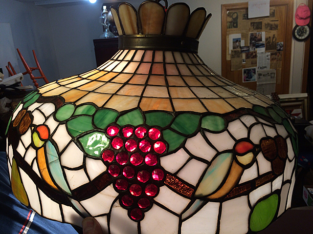 Antique Leaded Glass Chandelier