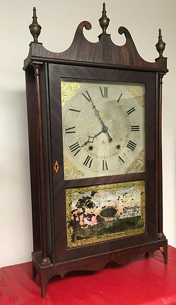 Ephraim Downes Pillar and Scroll Clock