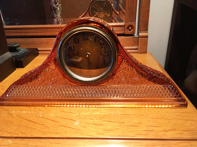 Amber Glass Mantel Clock