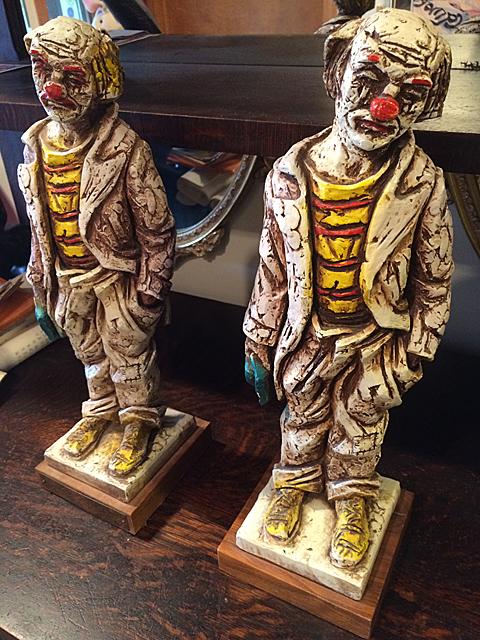 2 Hobo Clown Figurines