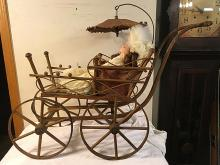 Antique Doll Carriage and Porcelain Doll