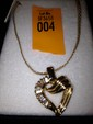 Estate 14kt Gold with Diamond Heart Shap Necklace