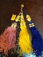 Estate 22kt Gold or better 3 Hanging Tassels with Emerald Beads on Top and Below