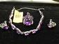 Estate Ladies 10kt White Gold Amythyst Bracelet, Earrings and Pendant