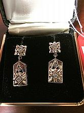 Vintage Estate 14kt White Gold Diamond Earrings