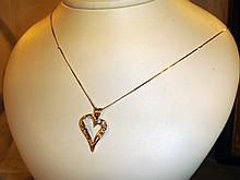 Ladies 14kt Heart Necklace with 8 Diamonds