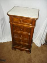 Victorian Mable Top Half Commode w1 drawer 1 door Walnut with Burl