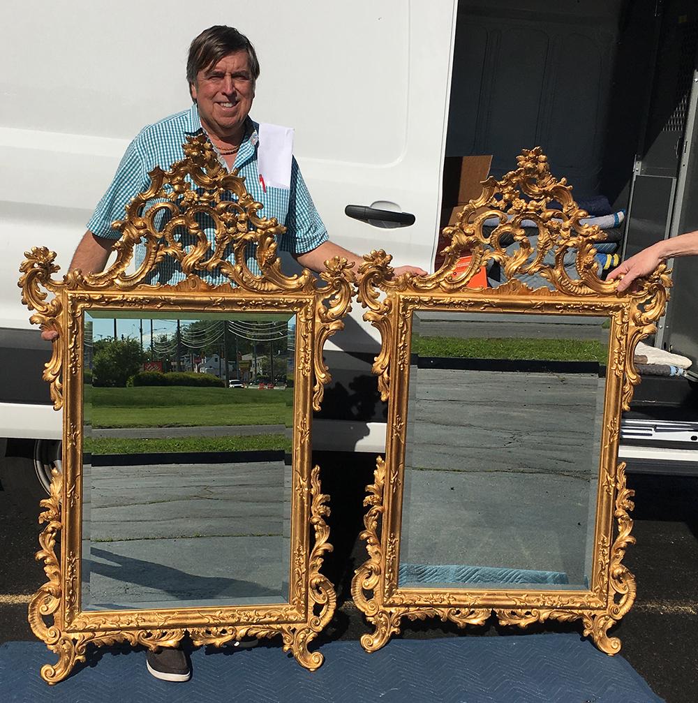 Pair of Matching Italian Gold Gilt MIrrors