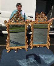 Lot 7: Pair of Matching Italian Gold Gilt MIrrors