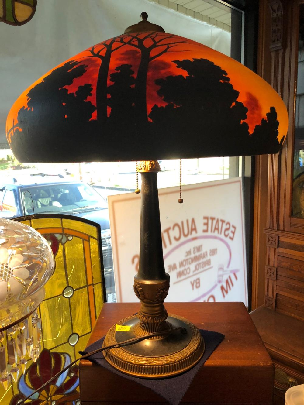 Lot 17: Reverse Painted Table Lamp