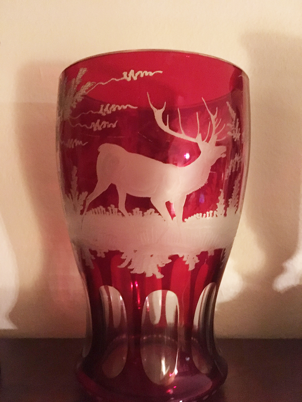 Lot 39: Etched Ruby Glass