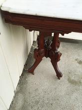 Lot 40: Walnut Eastlake Style Marble Top Table