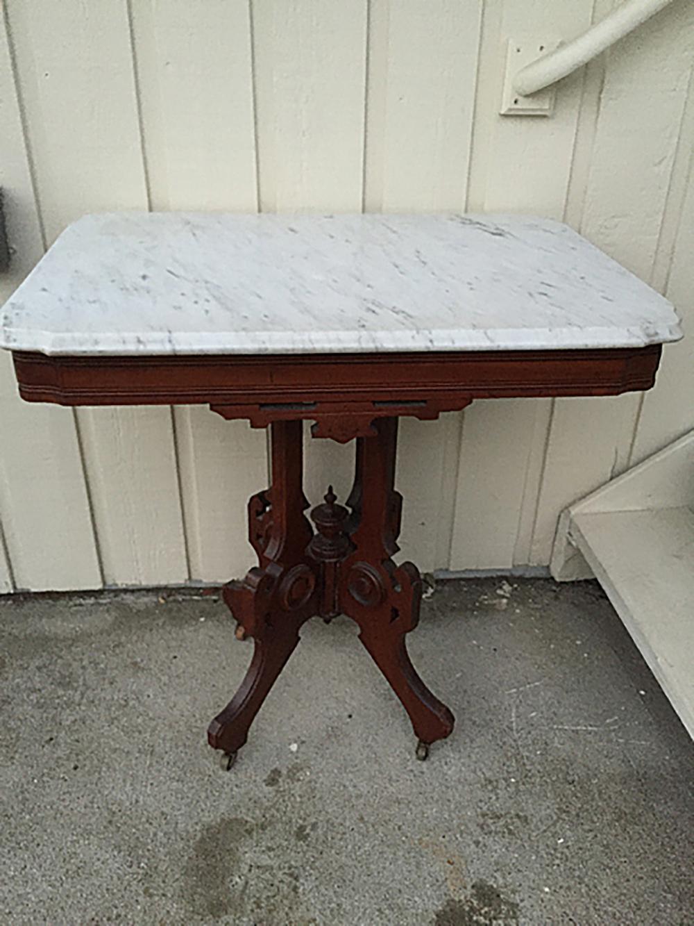 Walnut Eastlake Style Marble Top Table