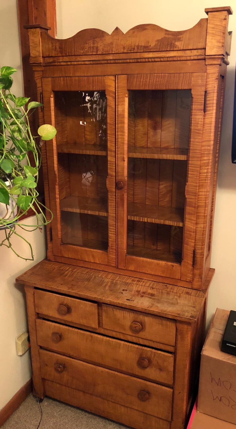 Antique Tiger Maple Cabinet