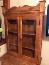 Lot 64: Antique Tiger Maple Cabinet